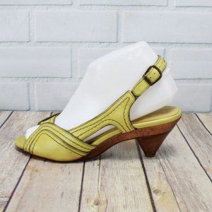 Frye Mustard Yellow Ada Piped Slingback Sz 7 B